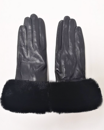 Leather Gloves With Faux Fur Trim - Black