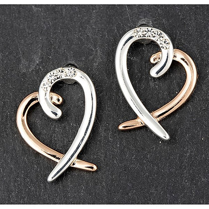 Silver & Rose Gold PlatedTwo Tone Heart Earrings