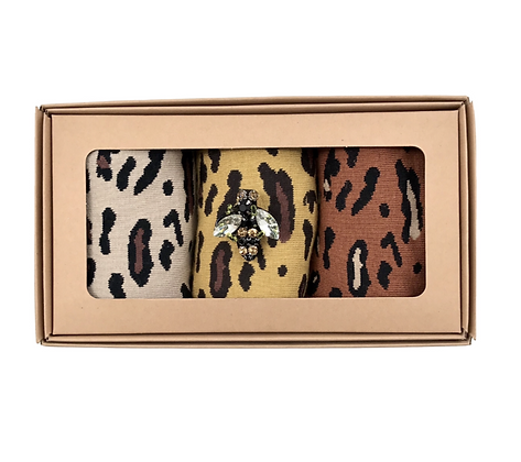 Animal Print Socks Gift boxed - With Sparkly Pin