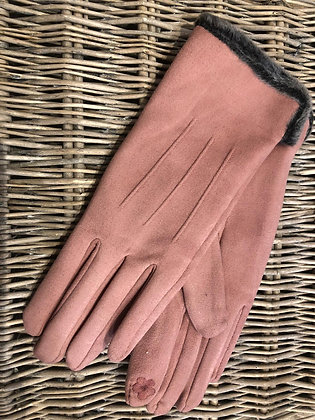 Faux Fur Trim Gloves - PINK