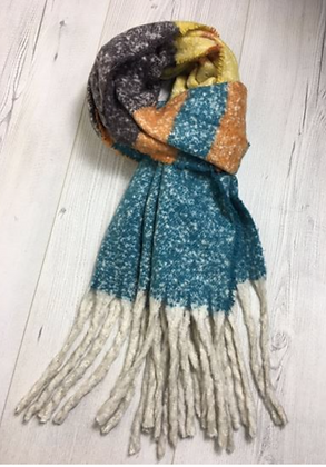 Soft Touch Chunky Scarf - Orange and Aqua Green