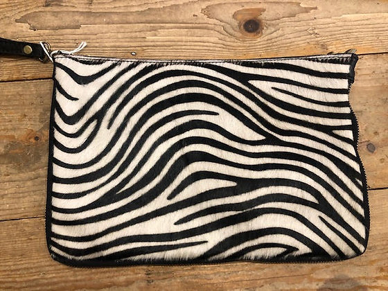 Leather Faux Fur Zebra Clutch Bag with strap