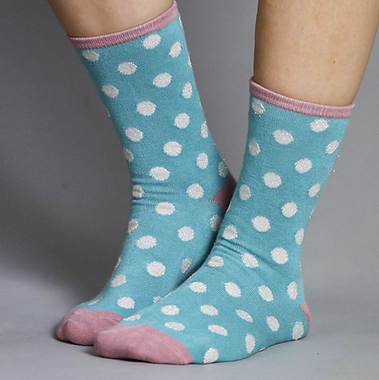Blue bamboo socks with polkadots and lurex