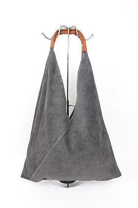GREY Large Suede Hobo Bag