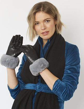 Leather Gloves With Faux Fur Trim - Grey