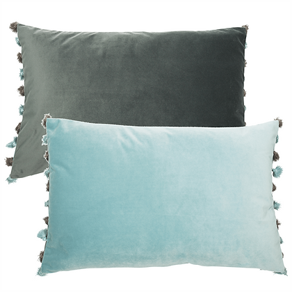 Reversable pompom cushion feather filled