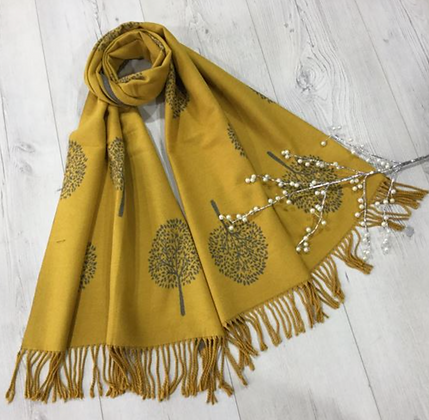 Tree Scarf with Strings End - Mustard