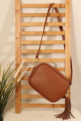 Italian Leather Cross Body Bag Tan