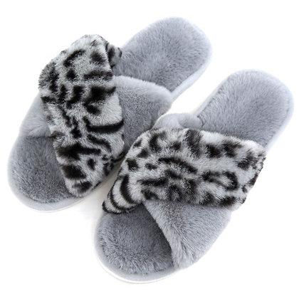 Leopard Print Slippers GREY Size 5-6