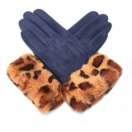 Animal Faux Fur Band Gloves- NAVY
