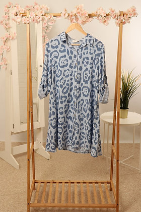 Sky Blue Leopard Print Tunic