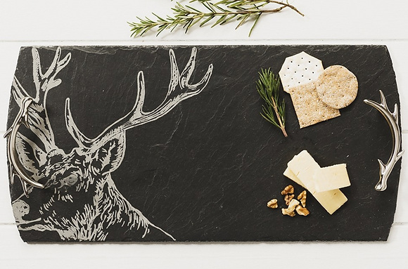 Stag Large Etched Serving Tray