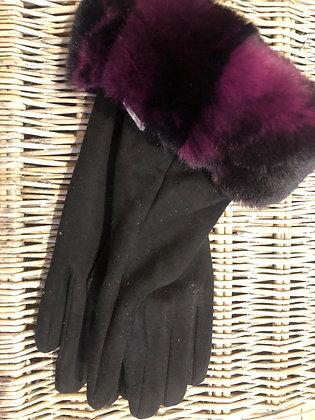 Faux Fur Trimmed Suedette Gloves - BLACK/PURPLE