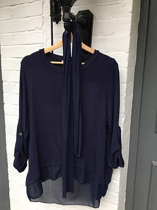 LIGHTWEIGHT NAVY TOP WITH SCARF