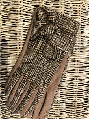 Checked Glove with Bow Detail- MOCHA