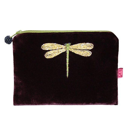 Dragonfly Velvet Purse -BURGUNDY