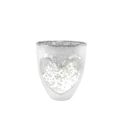 Small Silver Nordic Heart Candle Holder
