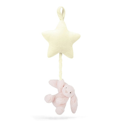 JELLYCAT Bashful Pink Bunny Star Musical Pull