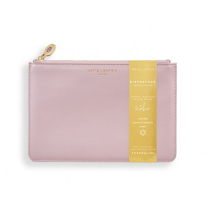 KATIE LOXTON BIRTHSTONE PERFECT POUCH | OCTOBER TOURMALINE | DUSTY PINK