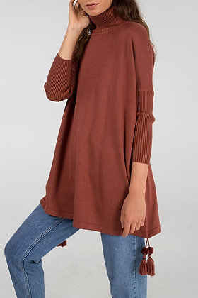 Long Roll Neck Jumper with Pom Pom Detail- Tobacco