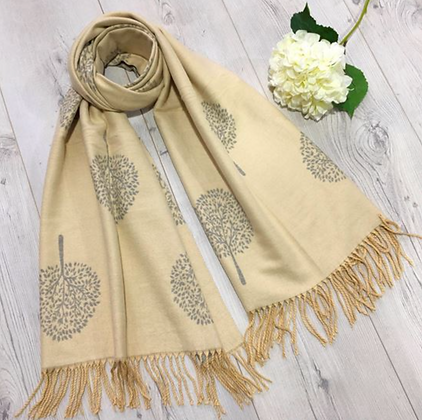 Tree Scarf with Strings End - Butterfly Yellow