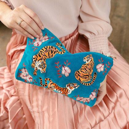 Tiger Azure Velvet Everyday Pouch by ELIZABETH SCARLETT