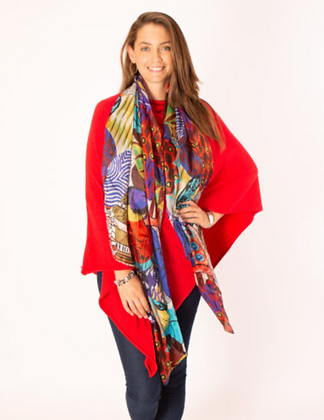 Red and Purple Large Silk