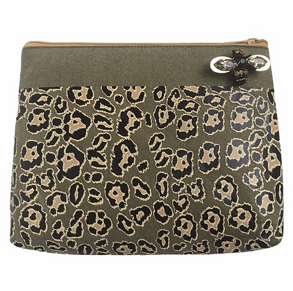 Leopard Print Pouch in Military Olive - LARGE