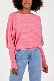 NOVA Ribbed Batwing Jumper-Hot Pink