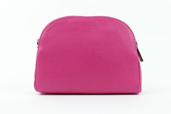 FUCHSIA Italian Leather Half Moon Bag