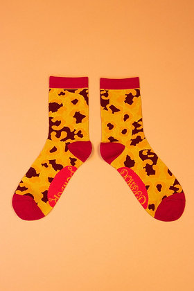 Ladies Ankle Socks Leopard Print