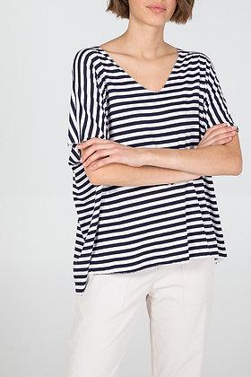 V - Neck Striped T- Shirt - NAVY
