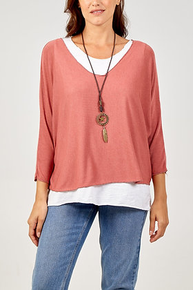 Layered Top with Necklace - TERRACOTTA