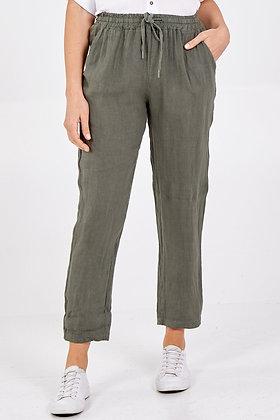Linen Drawstring Trousers KHAKI