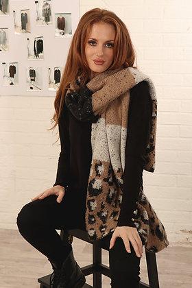 Leopard Blanket Scarf  - BLACK/CAMEL