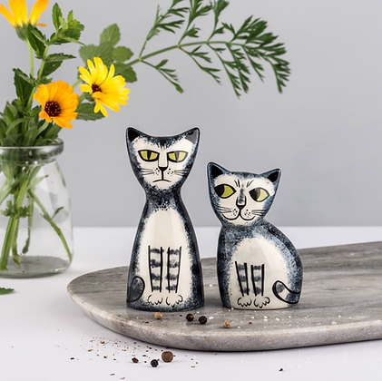 Hannah Turner - Grey tabby cat salt and pepper shakers