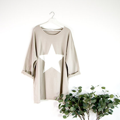 Plus Size Taupe L/S Top with Star Motif
