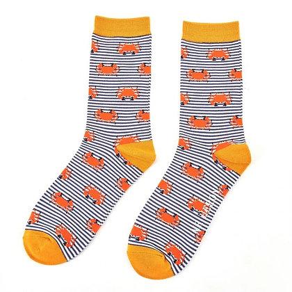Mr Heron Crab Print Bamboo Socks