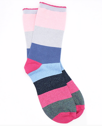 Pink and blue mix striped bamboo and lurex socks