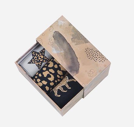 Leopard Set 3 Boxed Socks