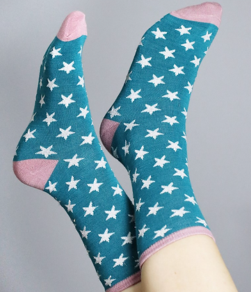 Teal bamboo socks with white stars and lurex