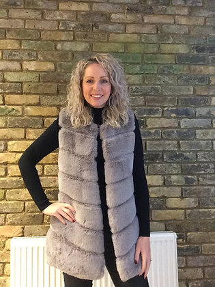 Faux Fur Gilets - Silver Grey