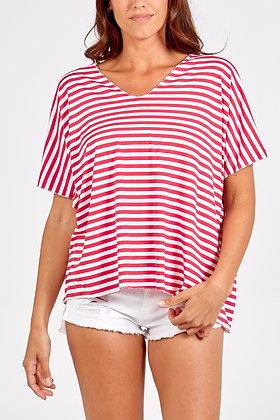 V - Neck Striped T- Shirt - HOT PINK