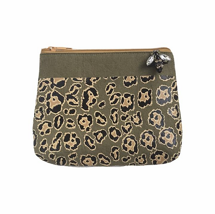 Leopard Print Pouch in Military Olive - Small