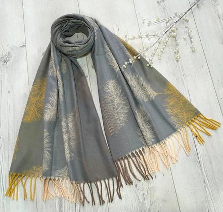Feather Print Soft Warm Tassel Scarf - Grey