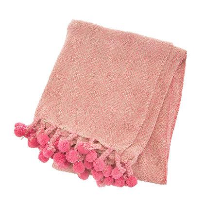 Nevada Pink Herringbone Blanket Throw