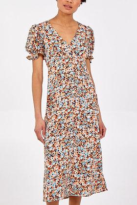 Frill Puff Sleeve Midi Dress - TAN/BLUE