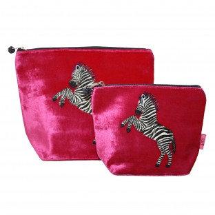 Dancing Zebra Small Cosmetic Purse - FUCHSIA
