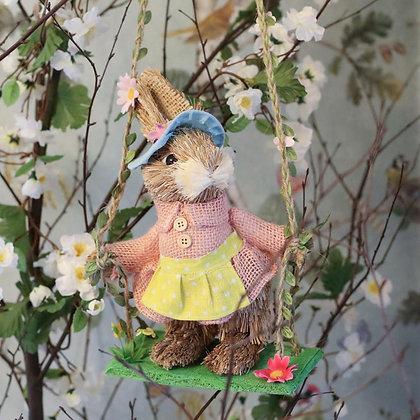 GISELA GRAHAM Easter Bunny On A Swing