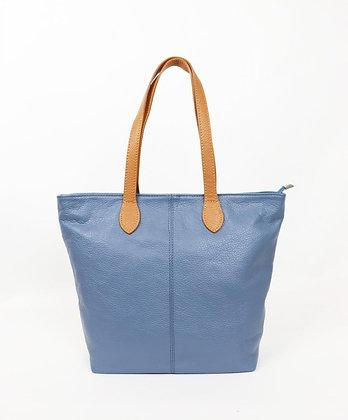 DENIM BLUE Italian Leather Shopper